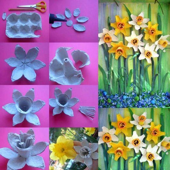 15 Brillantes Ideas Para Hacer Flores Con Cajas De Huevos